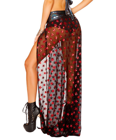 Black Sequin Star Mesh Gypsy Skirt