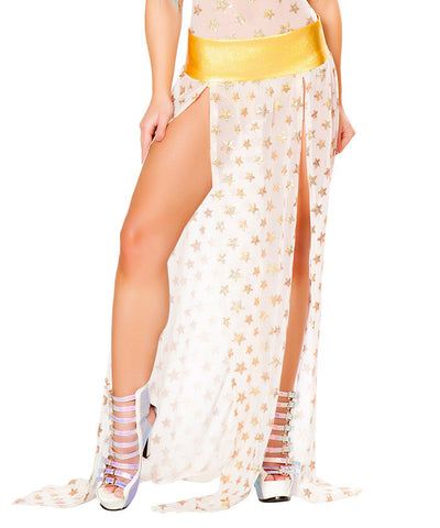 White Sequin Star Mesh Gypsy Skirt