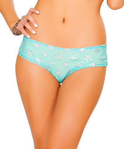 Aqua Light-Up Sequin Star Mesh Shorts