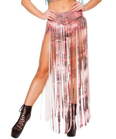 Pink Galaxy Suede Long Fringe Shorts