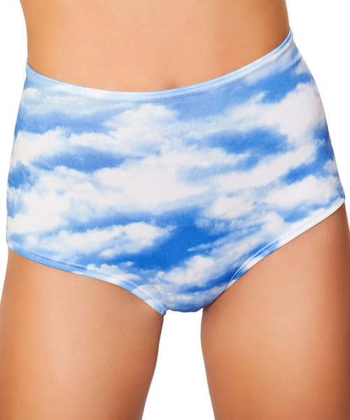 Cloud Print High-Waist Shorts