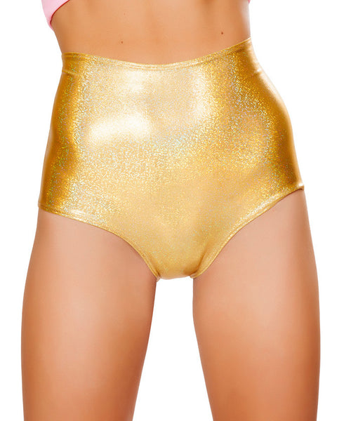 Gold Twinkle High-Waist Shorts