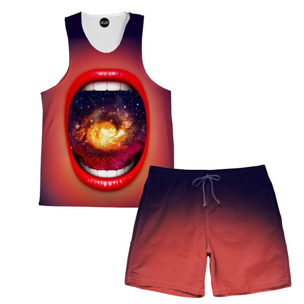 Galactic Mouth Tank and Shorts Rave Outfit
