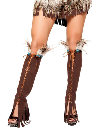 Lace-up Suede Leggings With Feather and Fringe Details