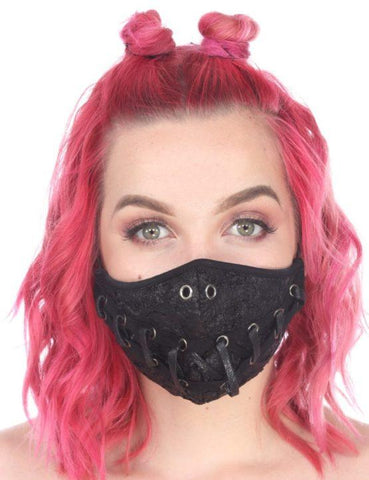 Punk Criss Cross Rivet Mask With Laces
