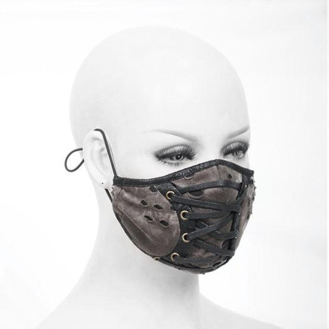 Lace-up Brown Tie-dye Ribbed With Lace Mask