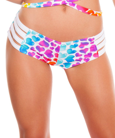 Rainbow Heart Print Strappy Shorts