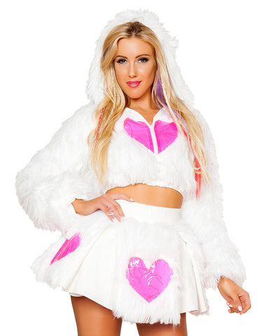 Light-Up Pink Heart White Shag Cropped Jacket