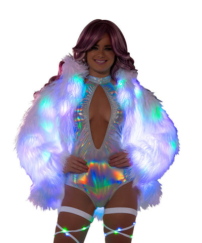 Light-Up Hip Length Fur Coat