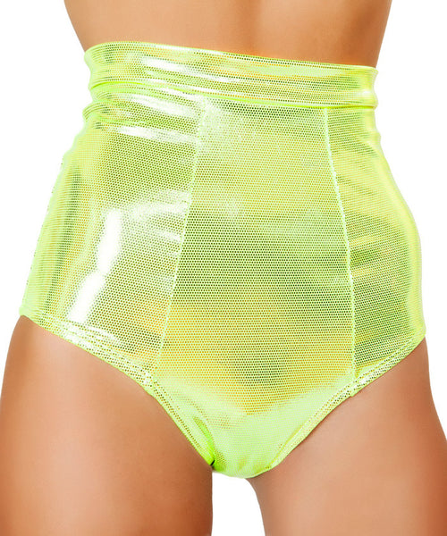 Yellow Banded High-Waist Shorts