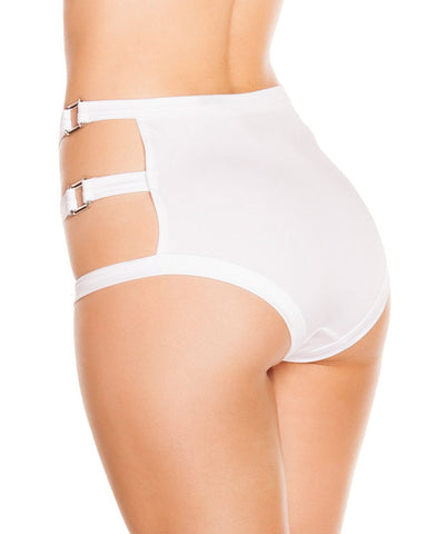 White Triple Strap High-Waisted Shorts