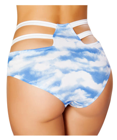 Cloud Print High Waist Strapped Shorts