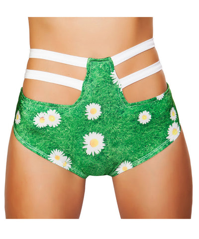 Daisy Print High Waist Strapped Shorts