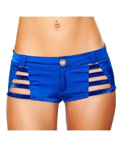 Blue Button Front Metallic Strappy Shorts