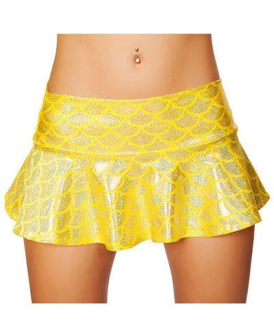Yellow Holo Flared Mermaid Skirt