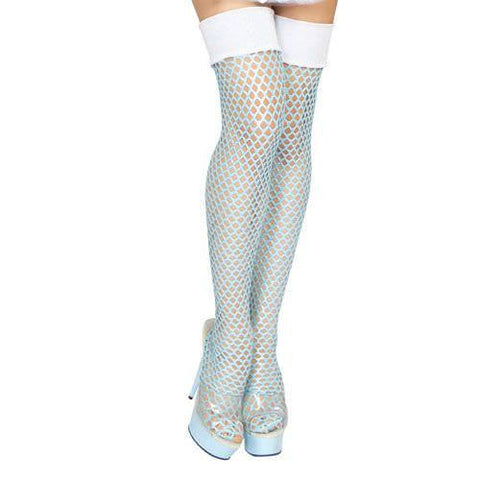 White Fishnet Thigh High Stockings