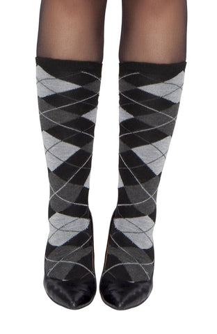 Black and Grey Square Knee High Stockings