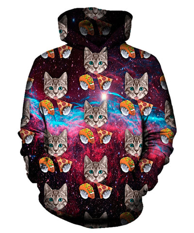Taco Pizza Cat Pattern Hoodie