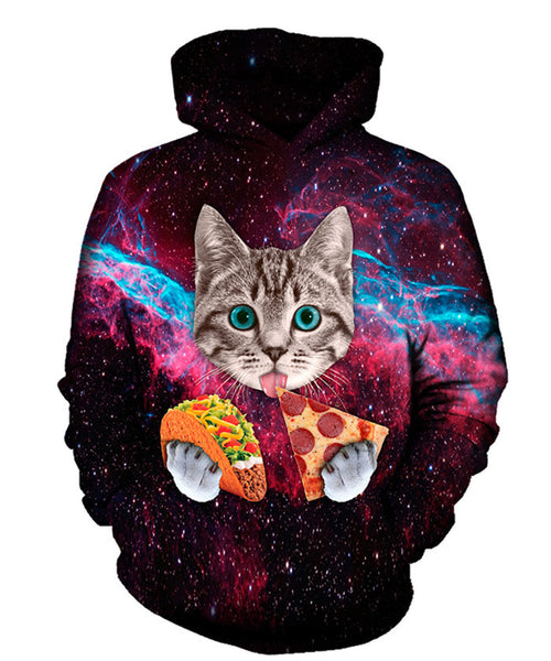 Taco Pizza Cat In Space Hoodie