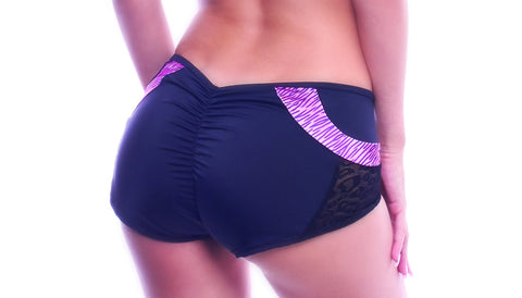 Pink Rainbow Scrunch Back Shorts