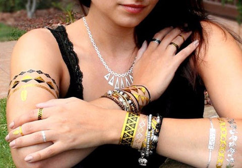 Festival Goddess Necklace Style Metallic Tattoos