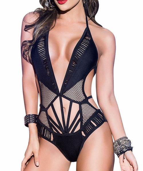 Slashed Fishnet Goddess Bodysuit Romper