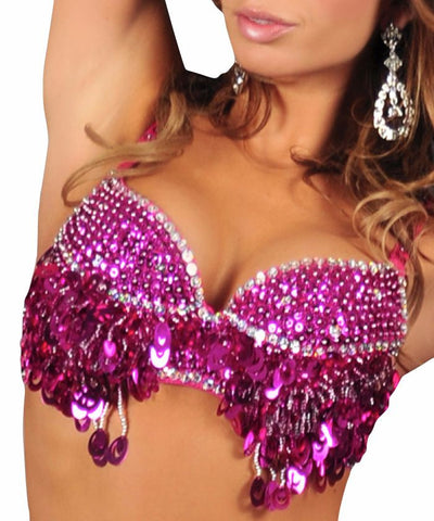 Fuchsia Beaded Sequin Bra