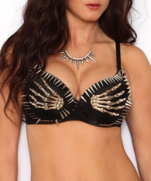 Skeleton Hands Spiked Bra