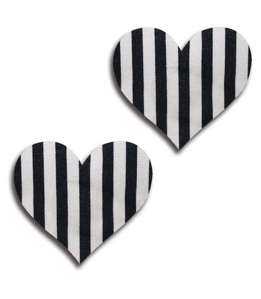 Black & White Striped Heart Pasties