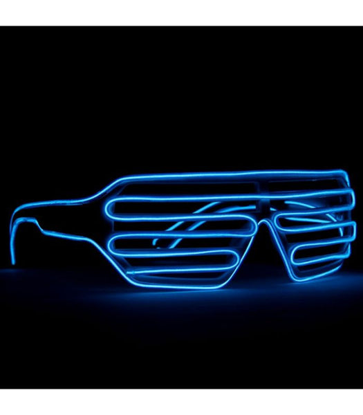 White with Blue Light Up Shutter Shades *Sound Activated*