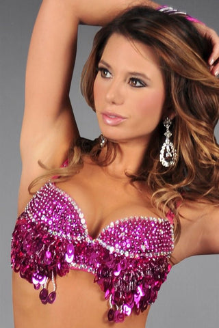Fuchsia Beaded Sequin Bra Top