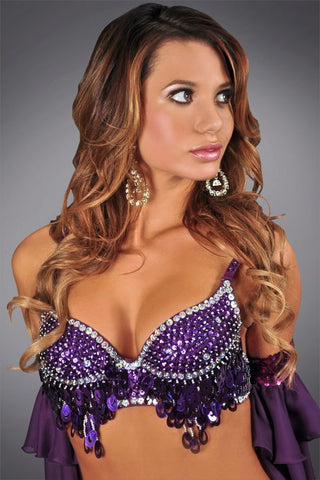Purple Beaded Sequin Bra
