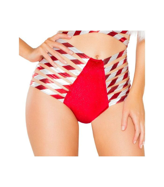 Candy Cane Strappy High Waist Shorts
