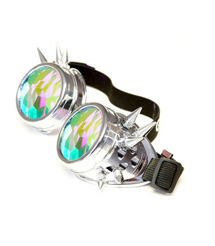 Chrome Spiked Kaleidoscope Goggles