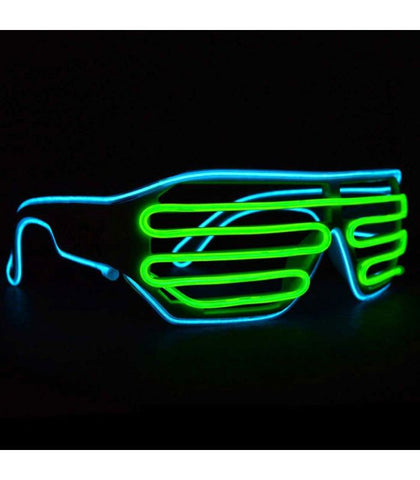 Cyan & Green Light Up Shutter Shades *Sound Activated*