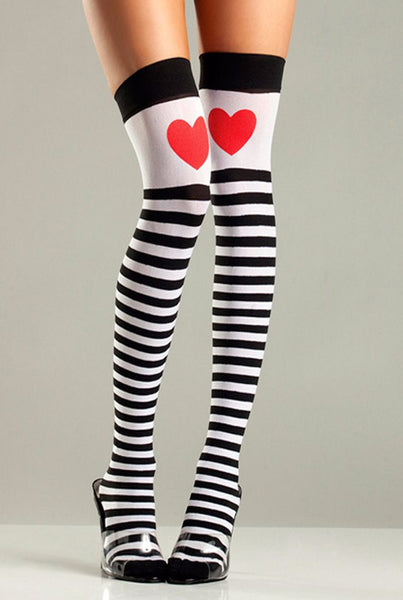 Striped Heart Thigh Highs