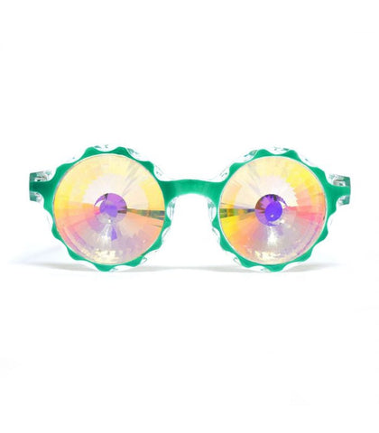 Green Crown Kaleidoscope Glasses