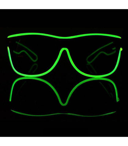 Green Electro Light Up Glasses