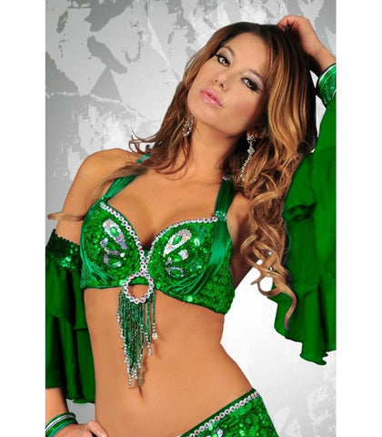 Green Sequin Butterfly Bra