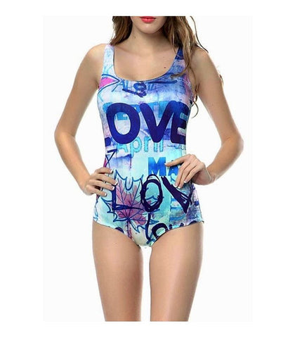 Love Print One Piece Swimsuit