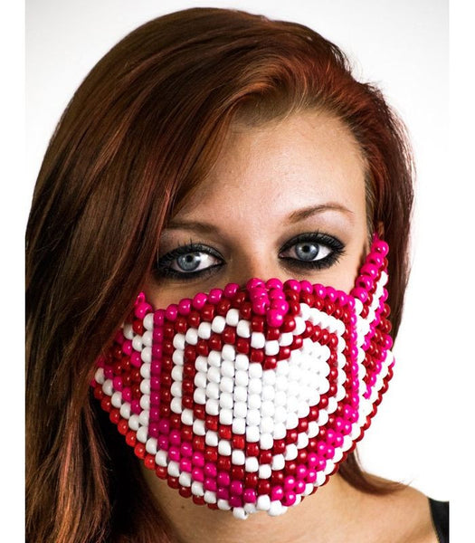 Pink Hearts Full Size Mask