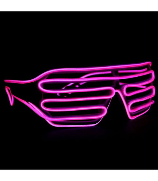 White with Pink Light Up Shutter Shades *Sound Activated*