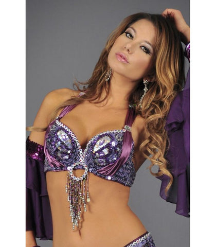 Purple Sequin Butterfly Bra