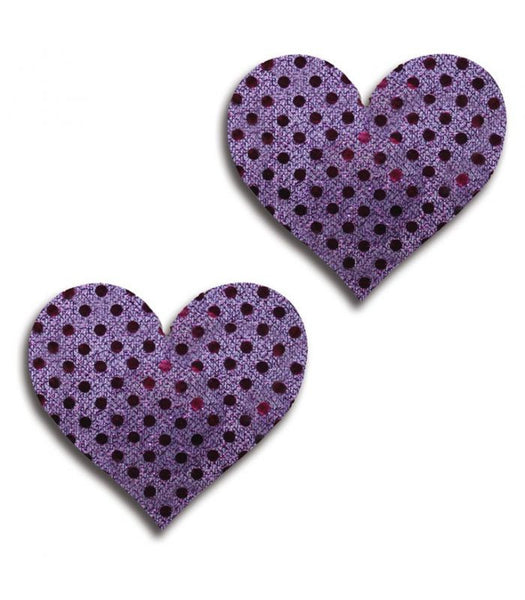 Purple Shiny Dot Heart Pasties