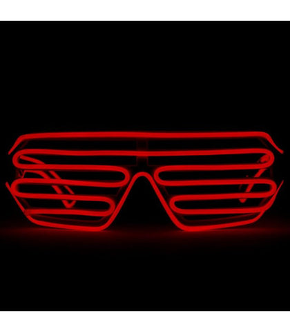 White with Red Light Up Shutter Shades *Sound Activated*