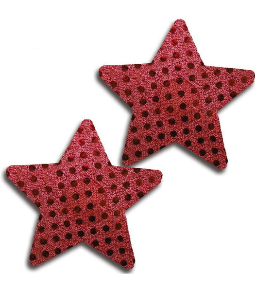 Red Shiny Dot Star Pasties
