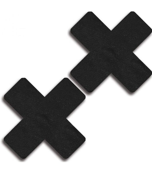 Solid Black Cross Pasties