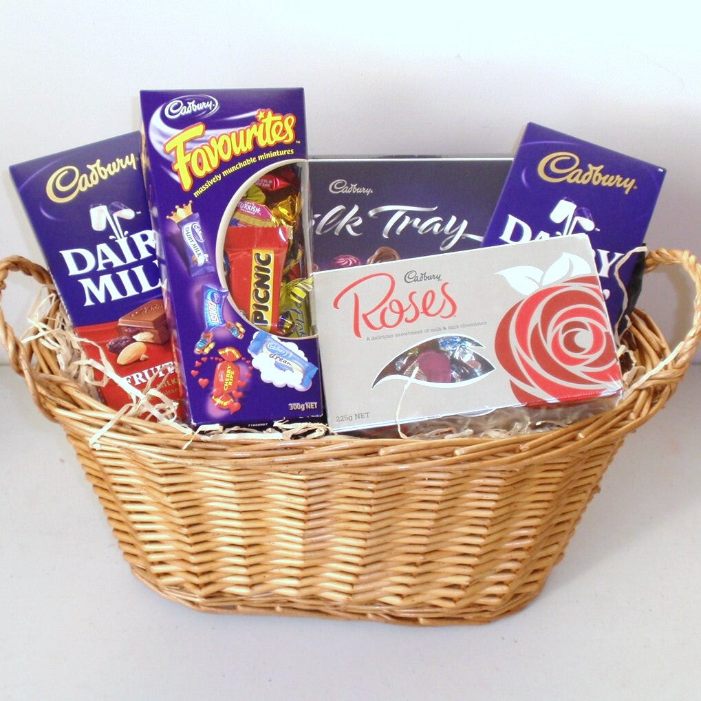 Cadbury chocolate gift basket gift baskets galore perth wa men cadbury chocolate gift basket negle Choice Image