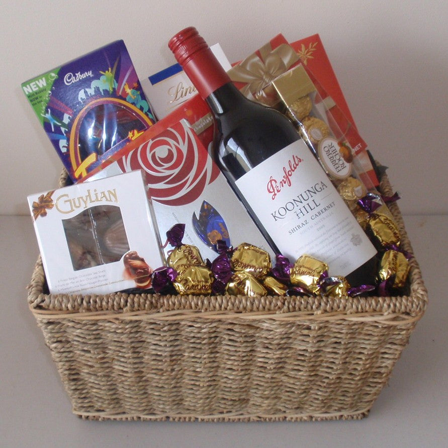 Red Wine and Chocolate Basket