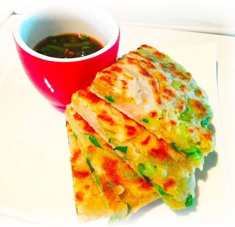 Spring Onion Maca Parmesan Pancakes with Dipping Sauce
